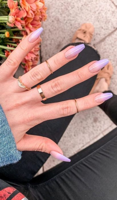 Manicure in lilac tones with matte effect