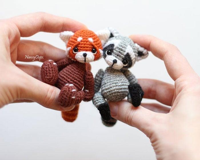Zorrito y mapache de crochet