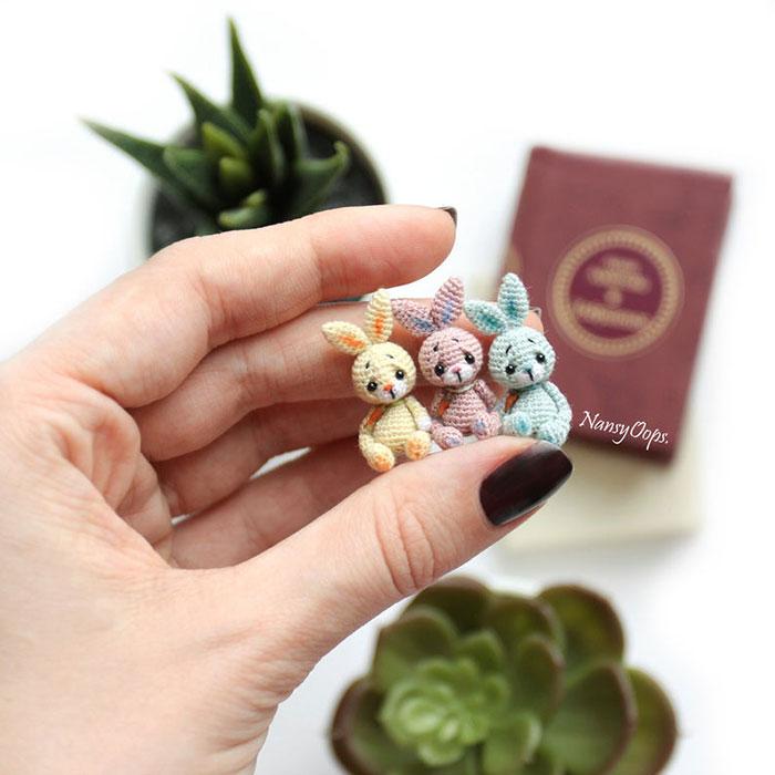 Conejos miniatura de crochet