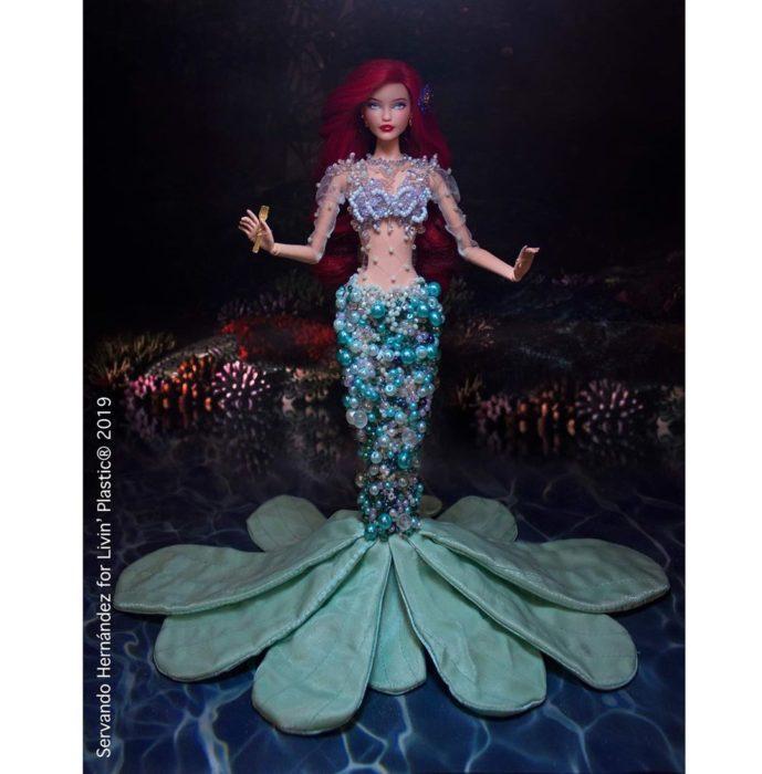 Barbie caracterizada como Ariel de La Sirenita