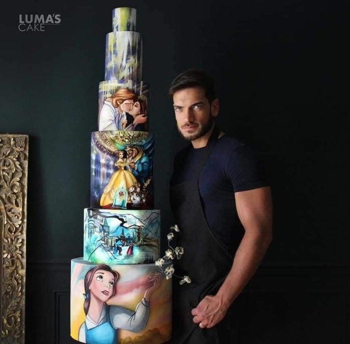 Javier Azocar pastel La Bella y la Bestia