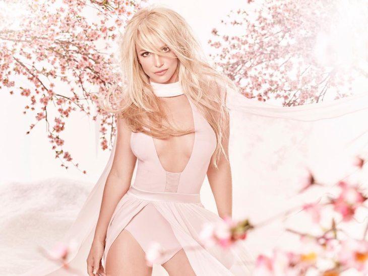 Britney Spears posando para una fotografía usando un vestido rosa clarito y cabello suelto