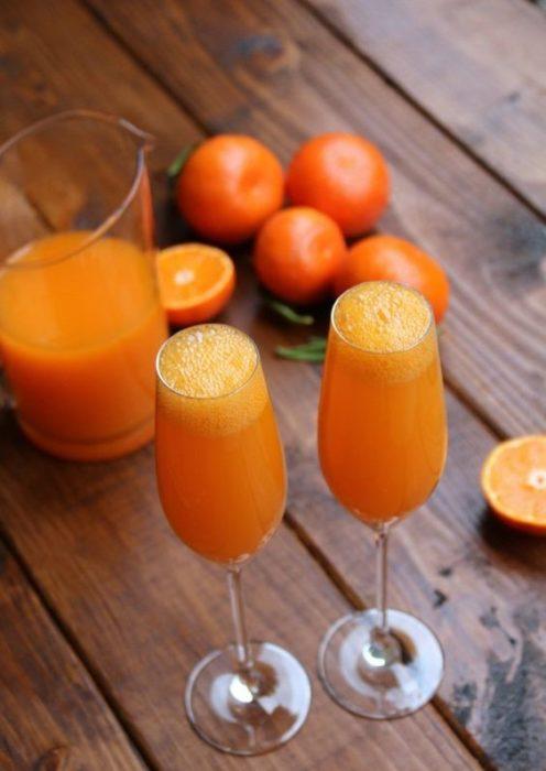 Copas con Mimosa y nieve de mandarina