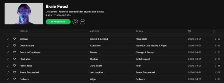 Lista de reproducción en Spotify llamada Brain Food