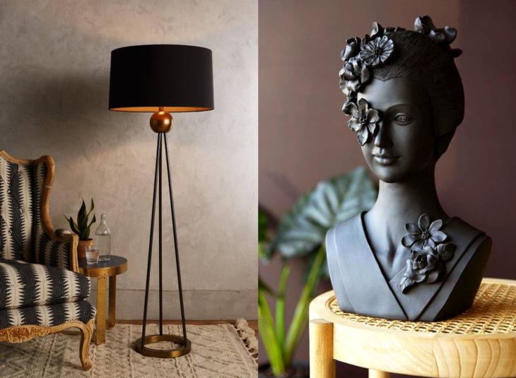 Decoración negra para tu casa; estatua y lámpara