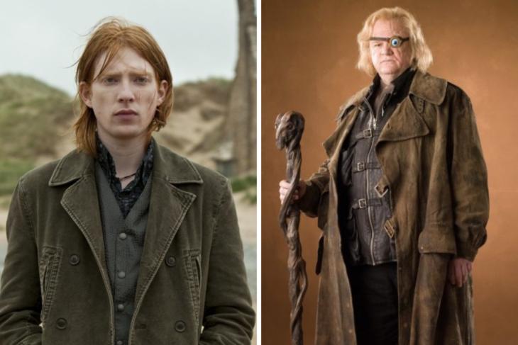 Brendan y Domhnall Gleeson como Bill Weasley y Ojoloco Moddy en la película Harry Potter y la orden del fénix