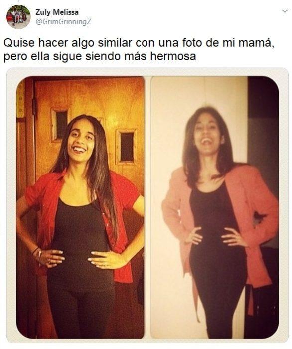 Chica recreando la foto de su madre con conjunto negro y blazer rojo cereza