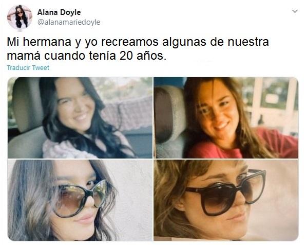 Chicas recreando fotos de su mamá a los 20 años dentro de un coche con gafas oscuras
