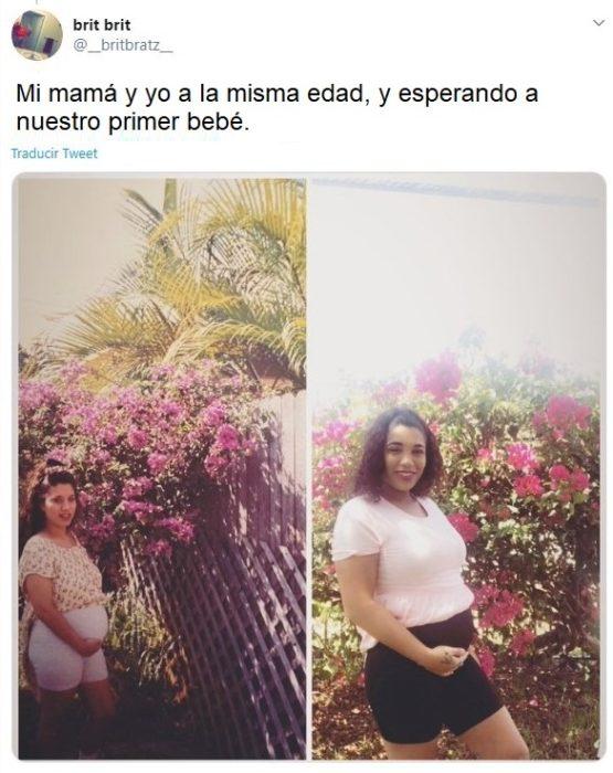 Chica recreando la foto de su mamá embarazada fuera de un jardín