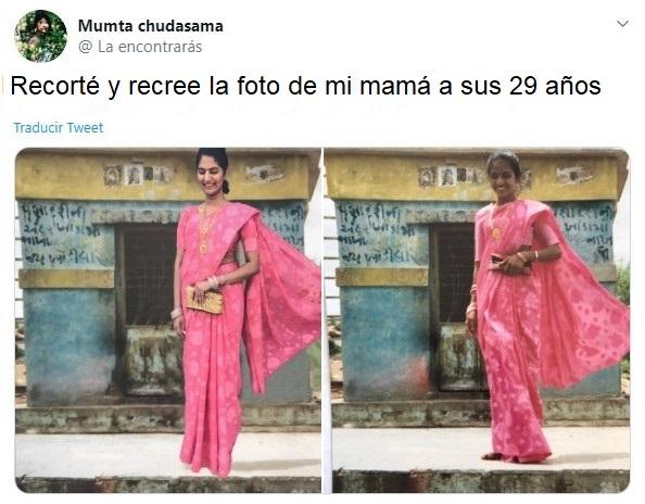 Chica hindú recreando la foto de su mamá con vestido tipico de la India en color rosa fucsia