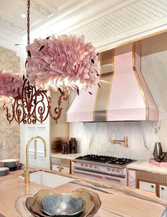 Campana de estufa color rosa