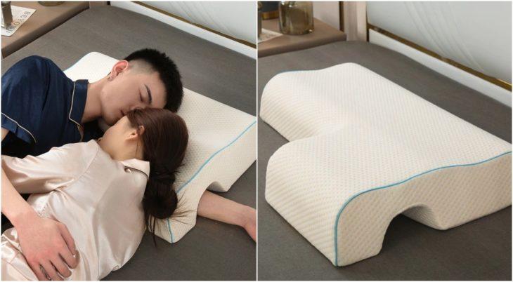 Pareja d enovios dormidos con la almohada Shell para evitar entumecimiento en los brazos