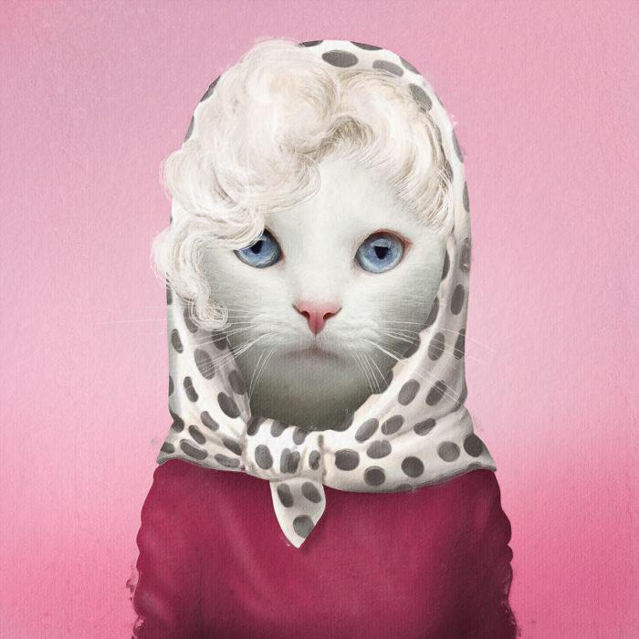 Gato blanco vestido con outfit similar al de Marilyn Monroe