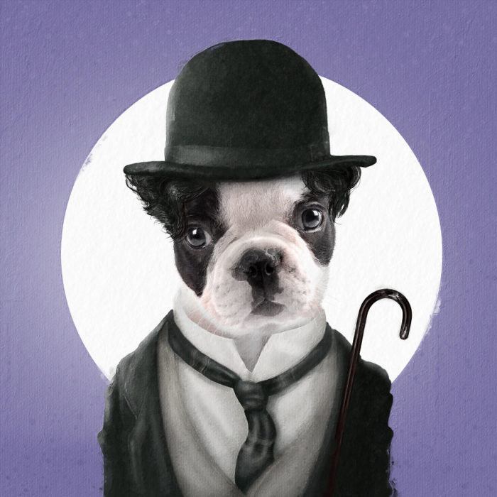 Perro pig vestido como Charles Chaplin