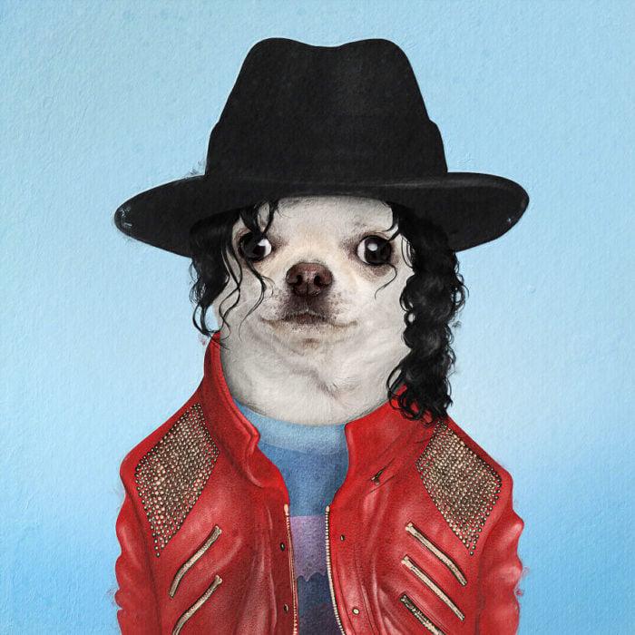 Perro chihuahu vestido como Michael Jackson