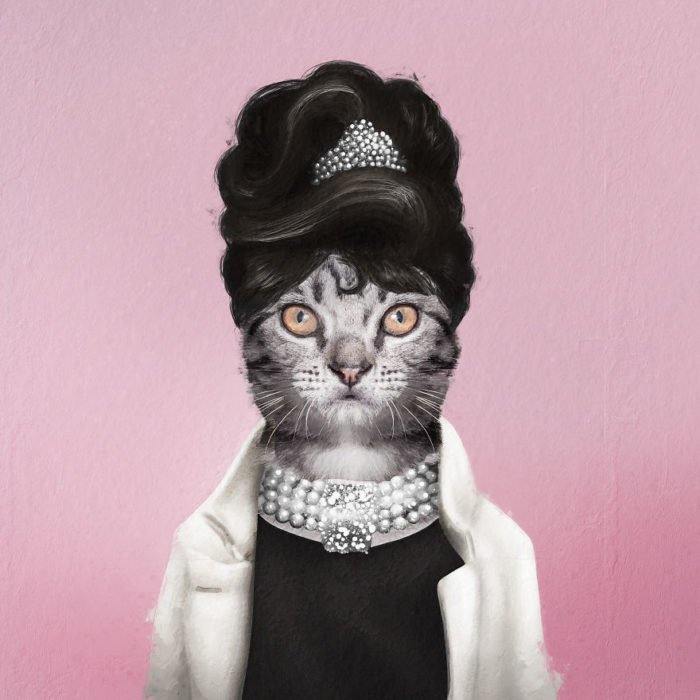 Gato blanco vestido como Audrey Hepburn