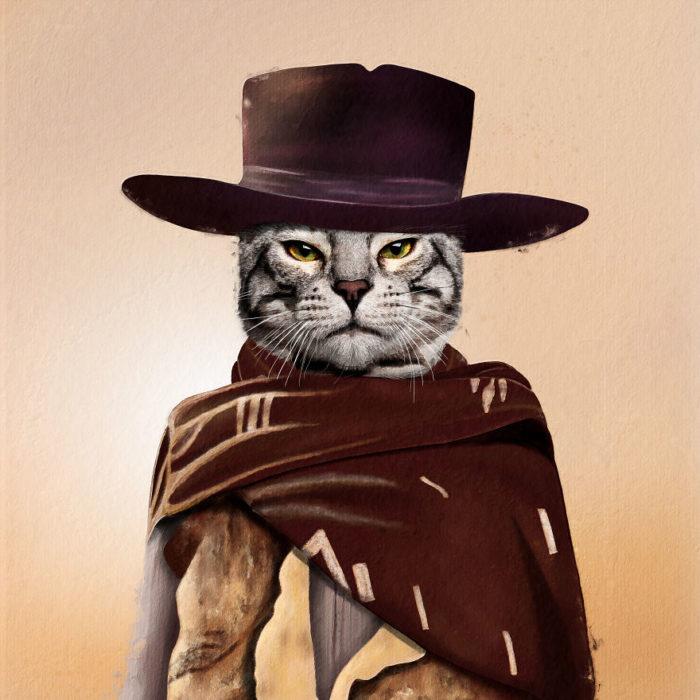 Gato gris vestido como Clint Eastwood