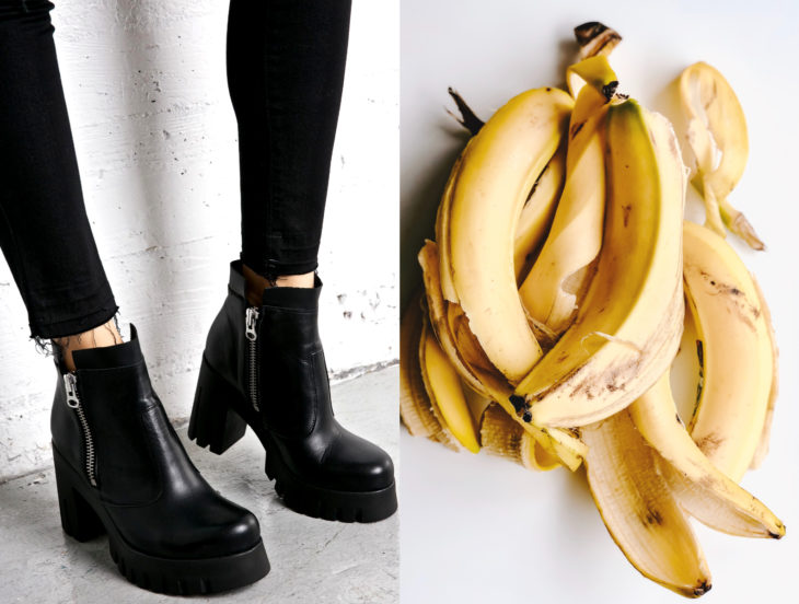 Tips para que los zapatos luzcan como nuevos; cáscara de plátano, botines negros de plataforma