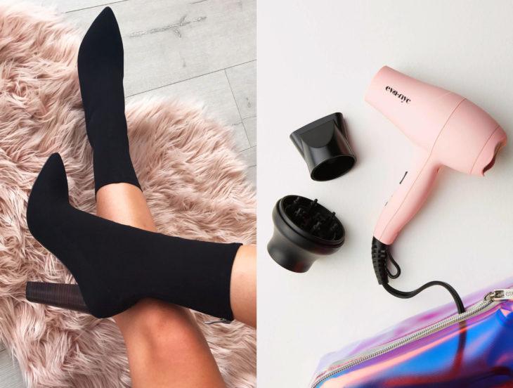 Tips para que los zapatos luzcan como nuevos; botines negros, secadora rosa de cabello
