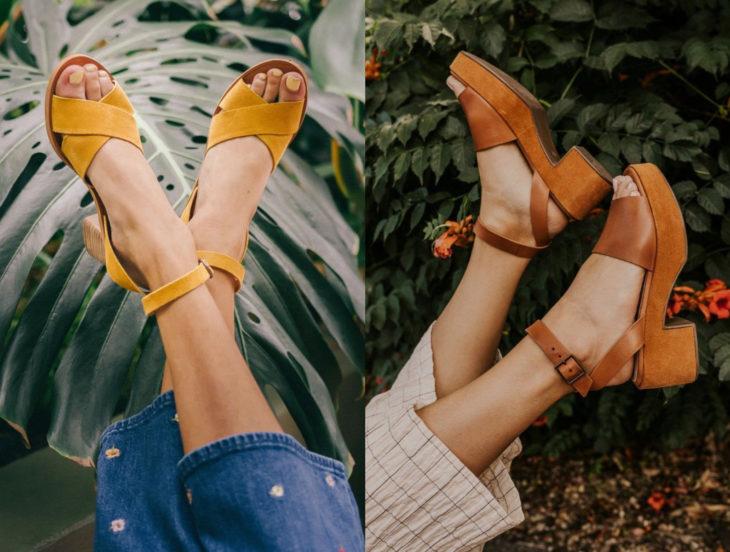 Tips para que los zapatos luzcan como nuevos; sandalias anaranjadas y amarillas