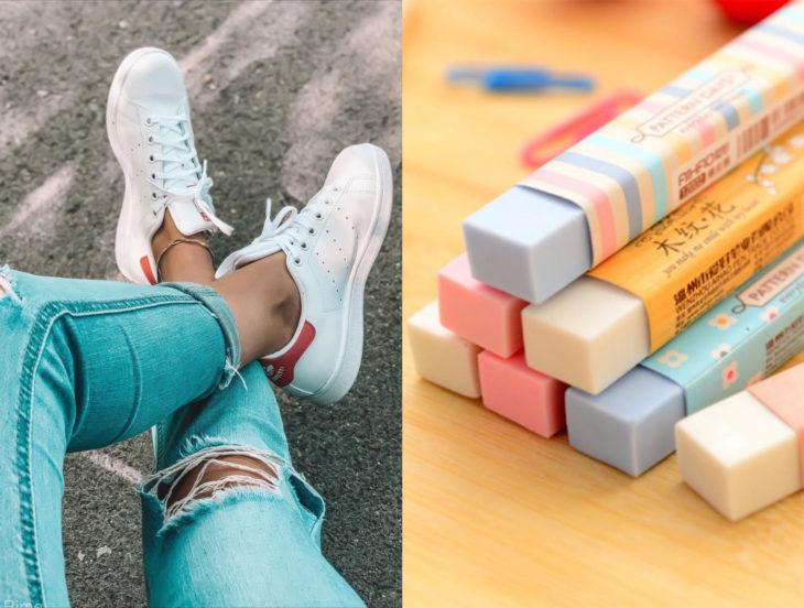 Tips para que los zapatos luzcan como nuevos; borrador, tenis blancos