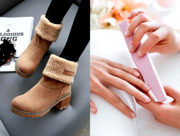 Tips para que los zapatos luzcan como nuevos; lima de uñas, botines de gamuza café para el frío
