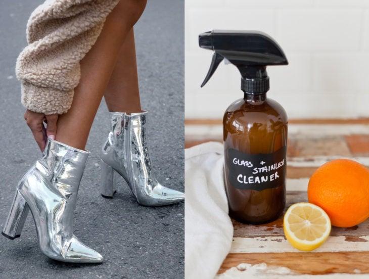 Tips para que los zapatos luzcan como nuevos; limpiador de vidrios natural, botines plateados