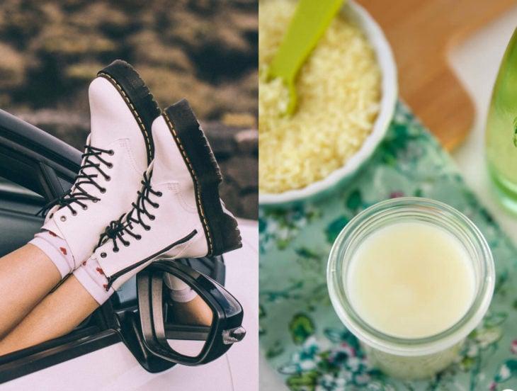 Tips para que los zapatos luzcan como nuevos; vaselina, botas Dr. Martens blancas