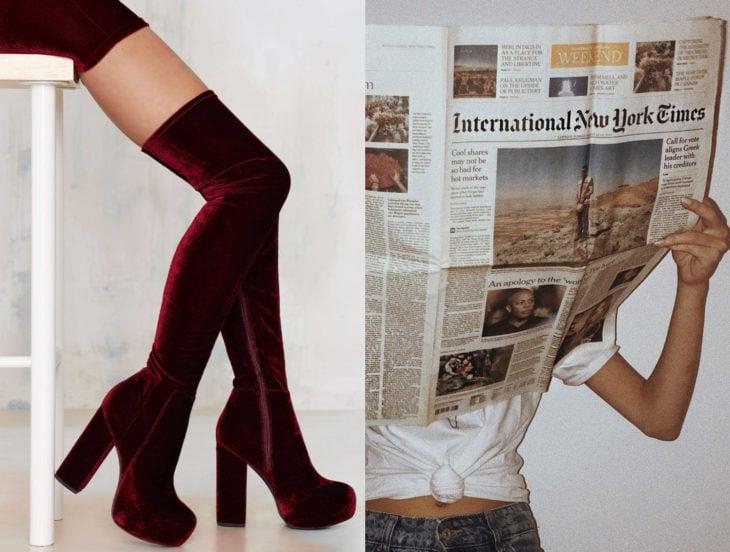 Tips para que los zapatos luzcan como nuevos; mujer leyendo periódico, botas de gamuza rojo vino largas arriba de la rodilla