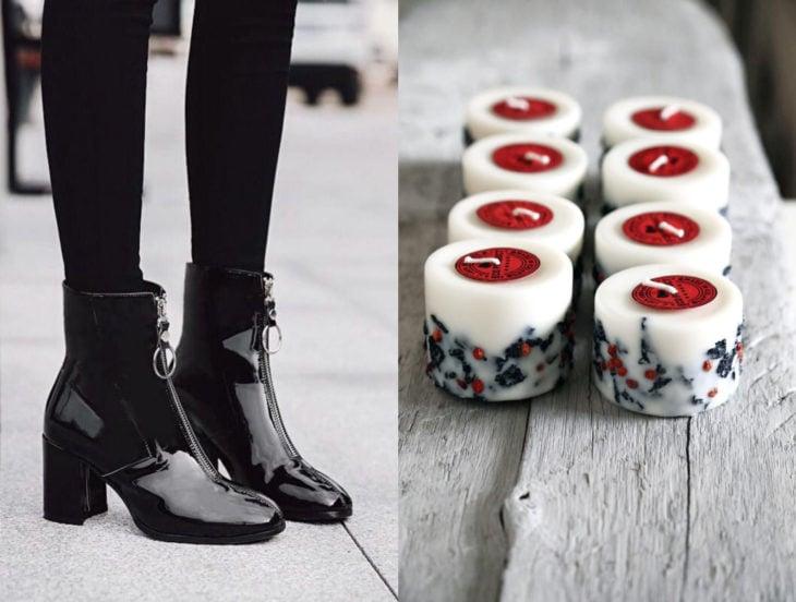 Tips para que los zapatos luzcan como nuevos; cera de vela, botines negros con cierre