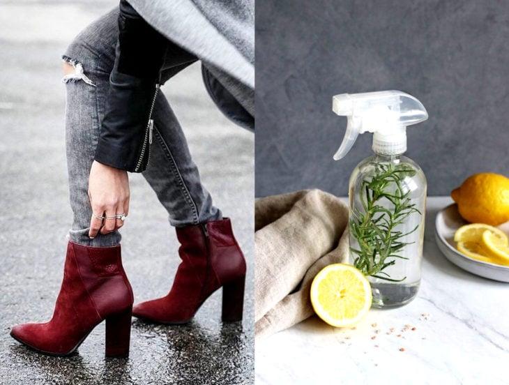 Tips para que los zapatos luzcan como nuevos; vinagre natural de limón, botines rojo vino de piel y tacón cuadrado