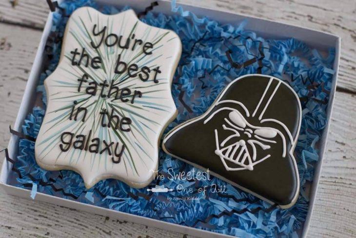 Galletas decoradas para el Día del padre de Darth Vader y un mensaje