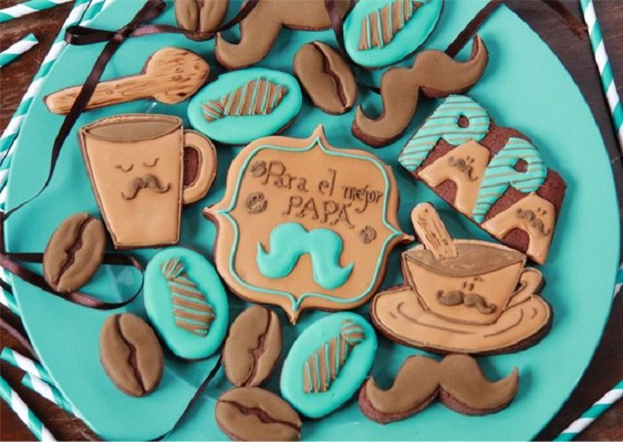 Galletas decoradas para el Día del padre de tazas de café y corbatitas