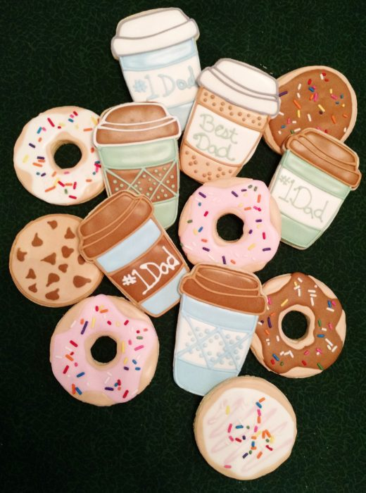 Galletas decoradas para el Día del padre de donas y café