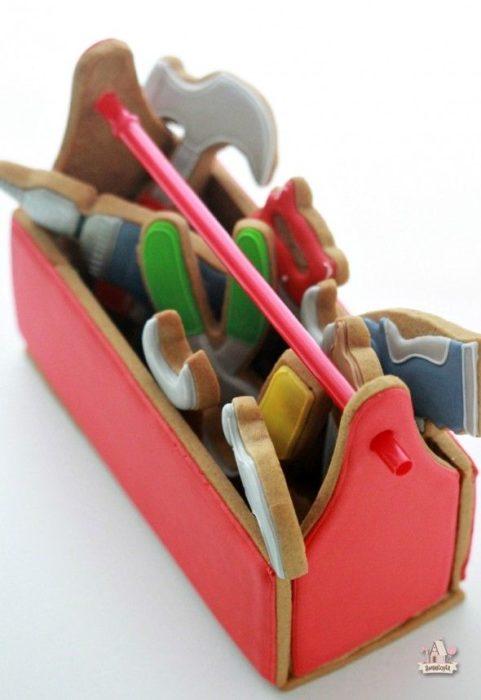 Galletas decoradas para el Día del padre de caja de herramientas
