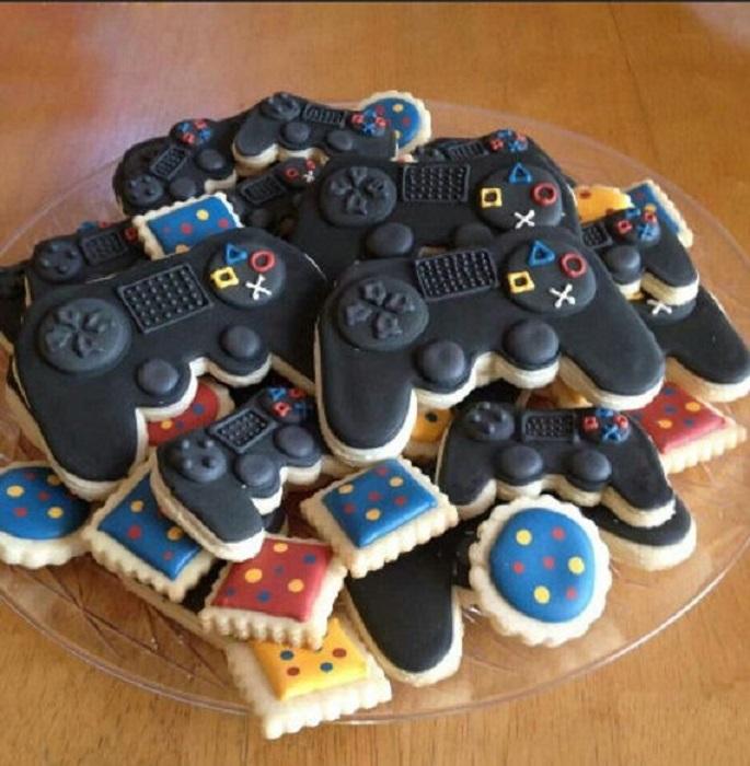 Galletas decoradas para el Día del padre de control de videojuegos