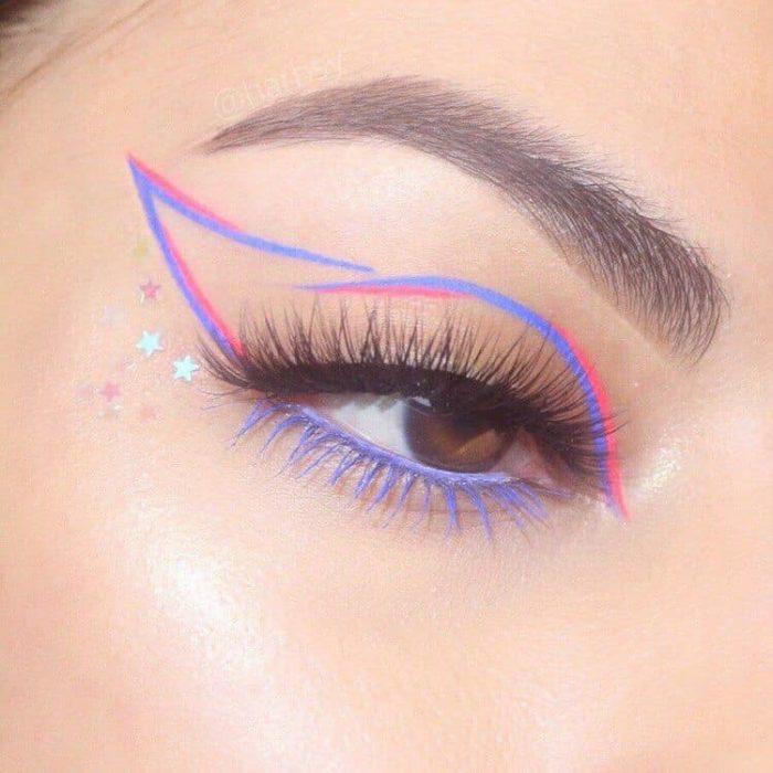 Delineado artístico en colores lila y rosa