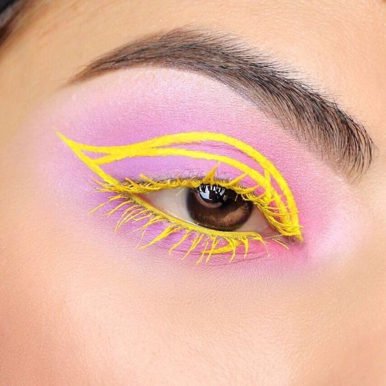 Yellow outlined with pink shadow