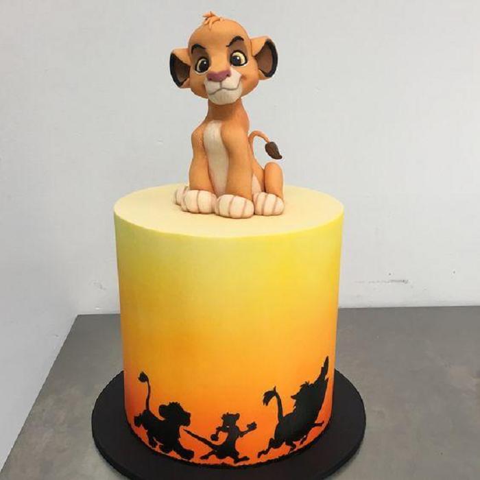 Pastel decorado, inspirado en Simba de la película El rey león