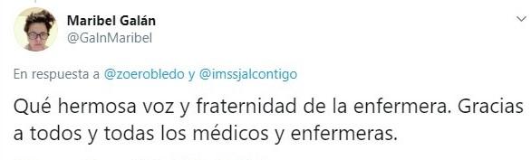 Tuit sobre enfermera del IMSS que canta a pacientes con Covid-19 para mitigar su dolor
