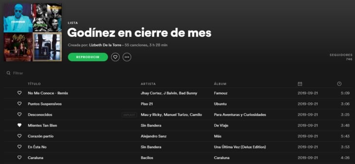 Lista de reproducción en Spotify llamada Godínez en cierre de mes