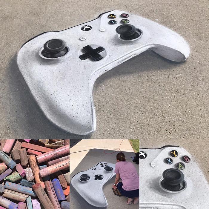 Control de playstation dibujado con tiza