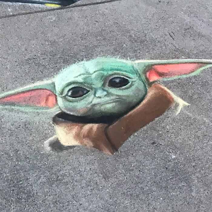 Yoda dibujado con tiza