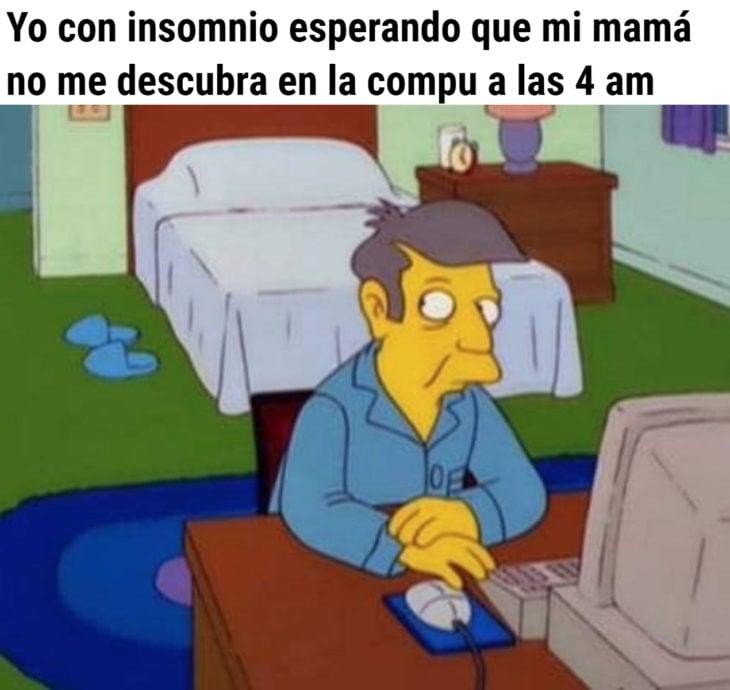 Memes de insomnio en la cuarentena; Seymour Skinner, Los Simpson
