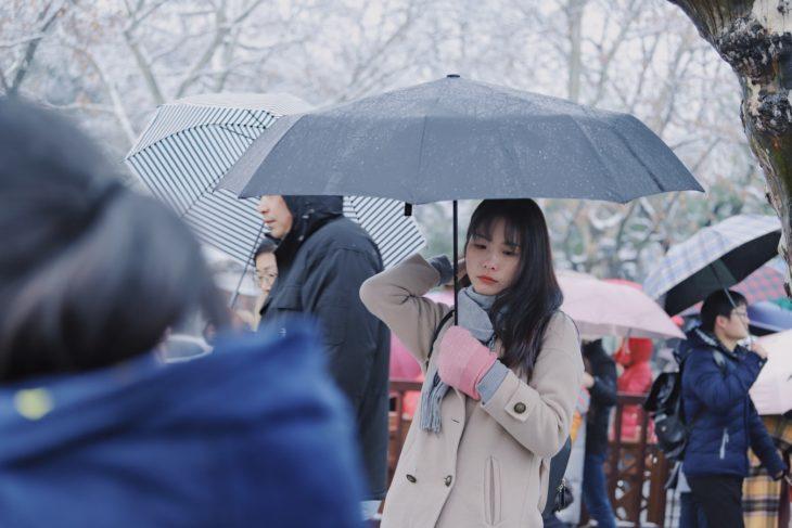 Chica usando paraguas bajo la lluvia