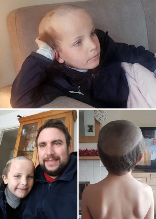 Niño que se cortó el cabello como si fuera un viejito
