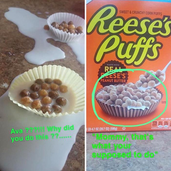 Niña sirviendo el cereal en capacillos para pasteles
