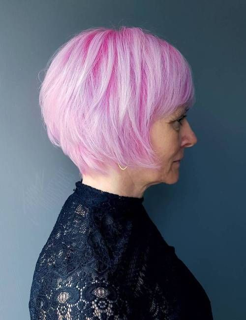 Mature women with short pink cotton hair