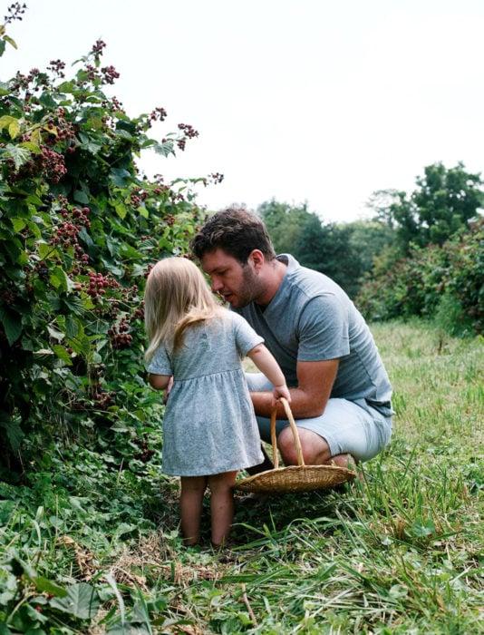 Frases del día del padre; papá e hija recolectando frutas de un huerto
