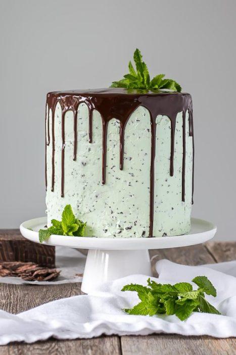 Pastel de chocolate con menta